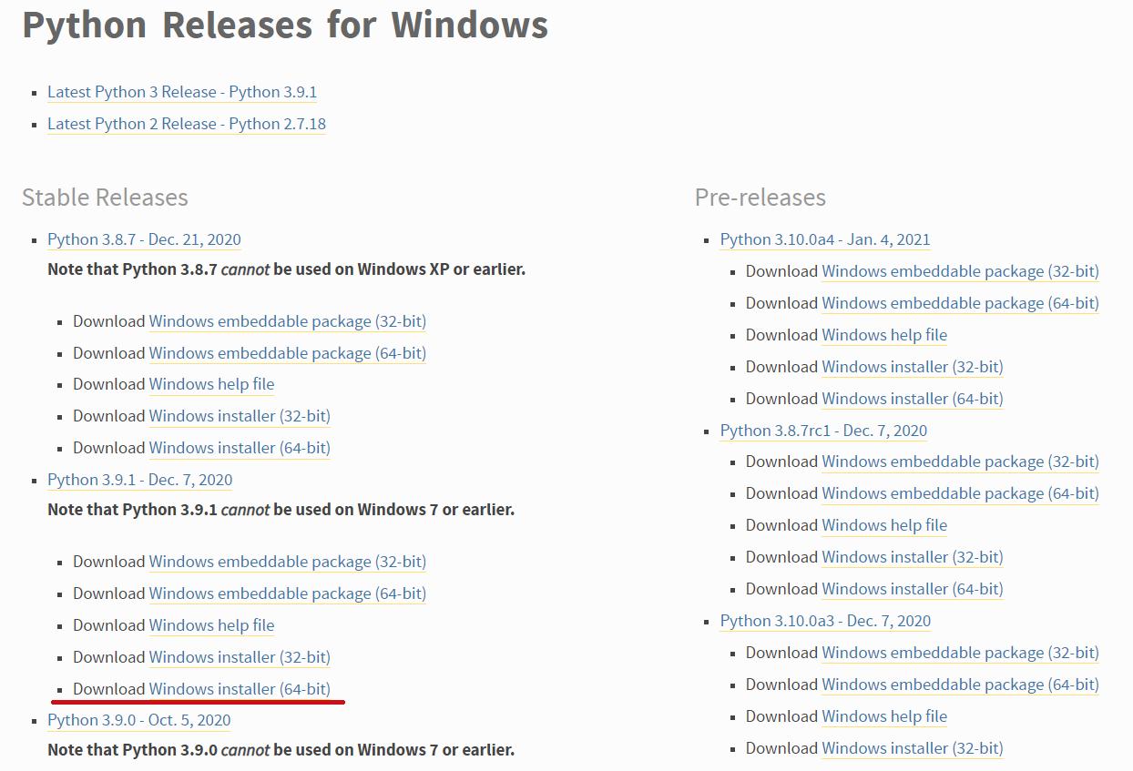 Página de download do Python para Windows
