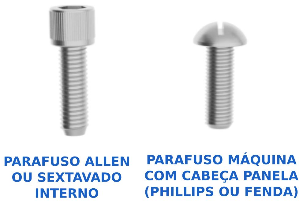 Parafusos utilizados na montagem da impressora 3D