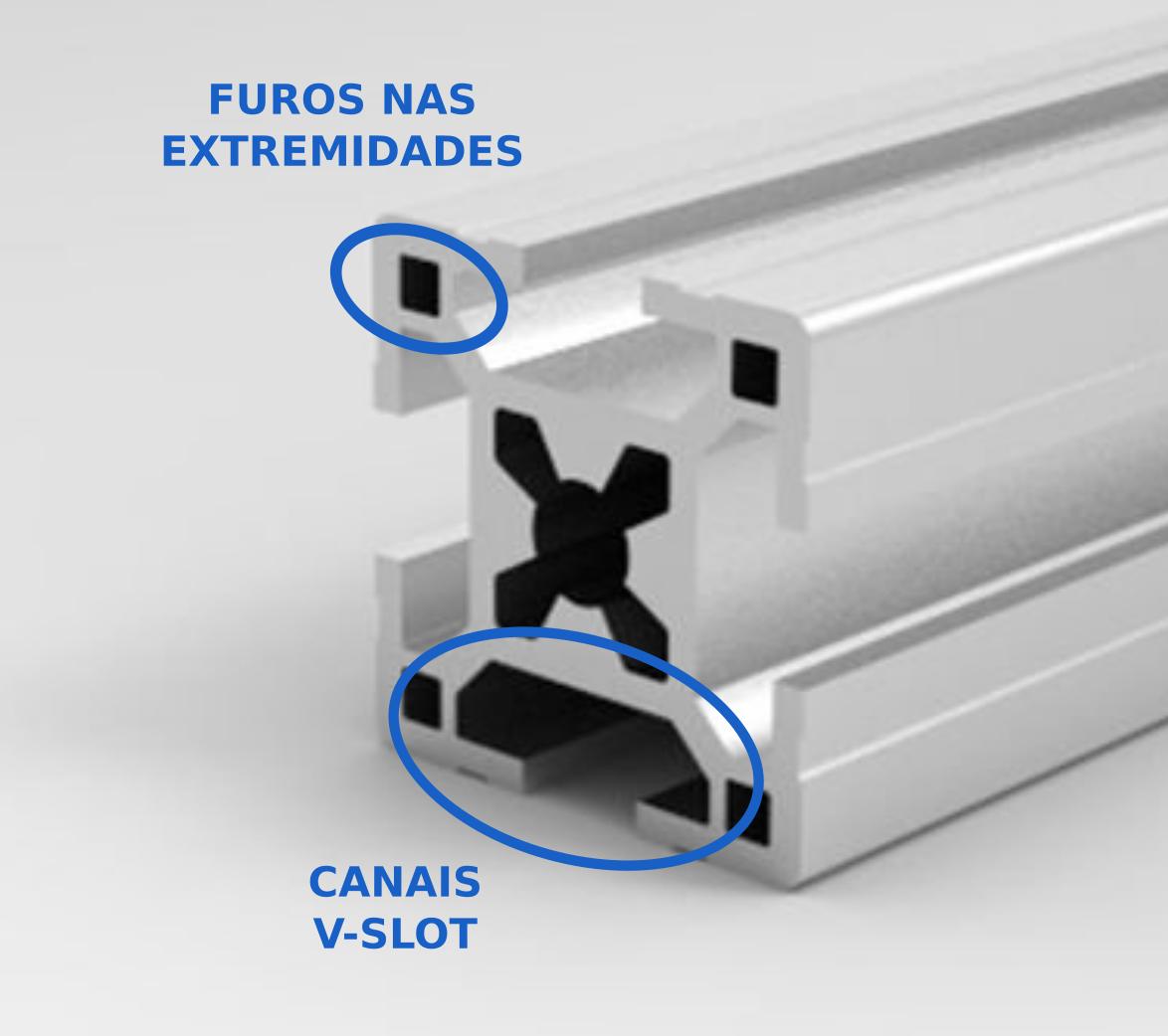 Perfil de alumínio 30mm x 30mm com canais V-slot e furos nas extremidades